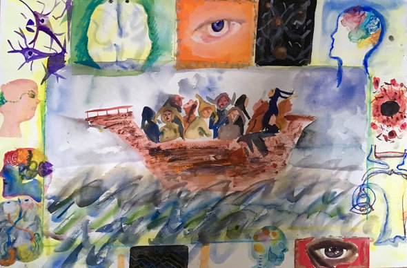 Ship of Fools watercolour 76 x 56 cms 2017