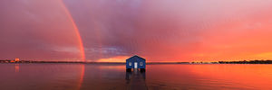 Blue Boat House Rainbow Landscape Photography Print