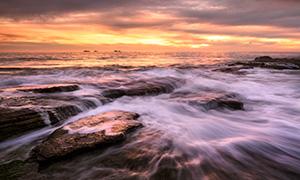 Golden Sunset at Burns Beach Landscape Photography Print