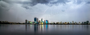 Lightning Over Perth and the Swan River Landscape Photography Print