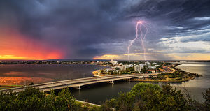 Lightning Over South Perth at Sunrise Landscape Photography Print