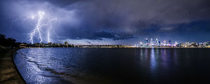 Lightning Over South Perth Landscape Photography Print