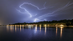 Lightning Over Kings Park and The Old Swan Brewery Landscape Photography Print