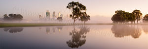 Misty Sunrise by the Swan River Landscape Photography Print