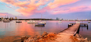 Mounts Bay Sailing Club and Matilda Bay at Sunset Landscape Photography Print