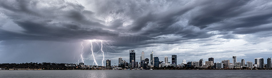 Perth City Thunderstorm Landscape Photography Print