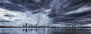 Perth City Lightning Landscape Photography Print