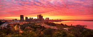 Perth City Sunrise From Kings Park Landscape Photography Print