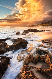Perth Coastline Storm at Sunset Landscape Photography Print