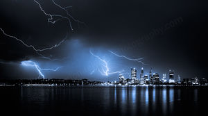 Perth Lightning 4 Landscape Photography Print