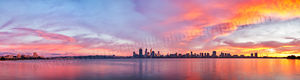 Perth City and the Swan River at Sunrise Landscape Photography Print