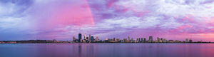 Rainbow Over Perth City at Sunrise Landscape Photography Print