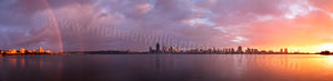 Rainbow over Perth and the Swan River at Sunrise Landscape Photography Print