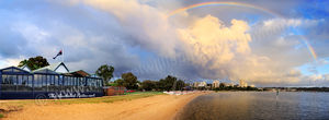 Rainbow Over South Perth at Sunrise Landscape Photography Print