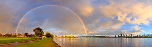 Rainbow at Sunrise over Perth and the Swan River Landscape Photography Print