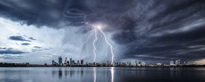 Summer Storm Over Perth and the Swan River Landscape Photography Print
