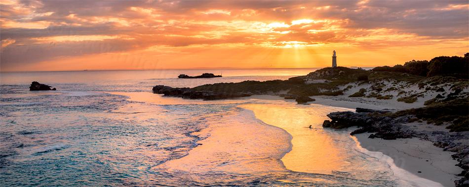 Sun Rays Over The Basin, Rottnest Island Landscape Photography Print