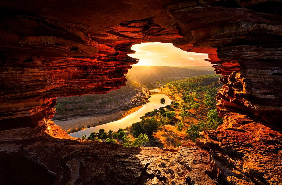 Sun Rays Through Nature's Window, Kalbarri National Park Landscape Photography Print