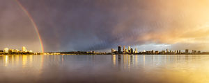 Sunrise Rainbow Over Perth and the Swan River Landscape Photography Print