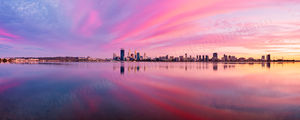 Sunrise over the Swan River and Perth City Landscape Photography Print