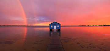 Sunset Rainbow Over Crawley Edge Boatshed Photo by Michael Willis Photography