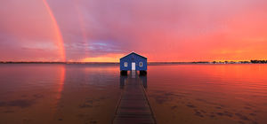 Sunset Rainbow Over Crawley Edge Boatshed Landscape Photography Print