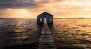 Sunset at Crawley Edge Boatshed Landscape Photography Print