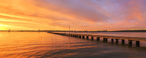 Sunset over Como Jetty and the Swan River Landscape Photography Print