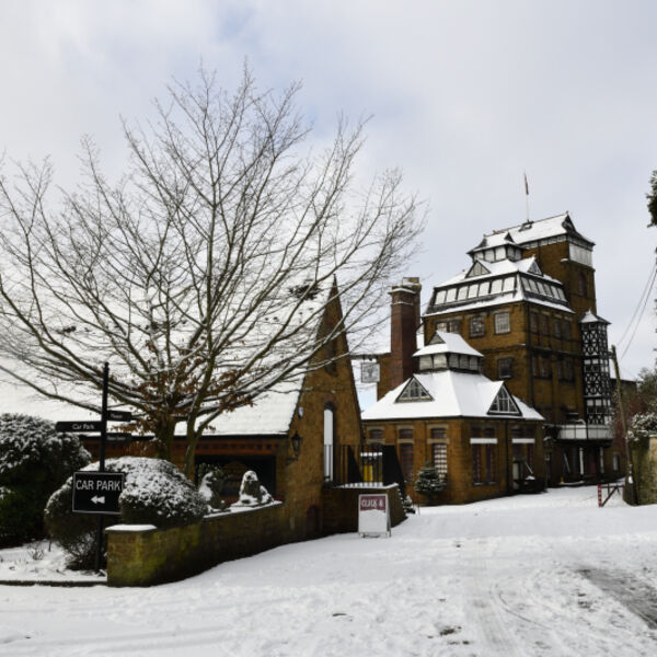 Hook Norton Brewery in Snow