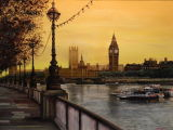 The Houses of Parliament from The Embankment, London