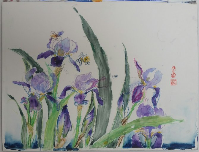 Bees and irises