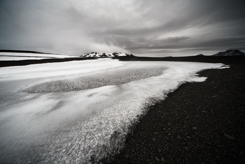 Snow on Black Lava Landscape No 2