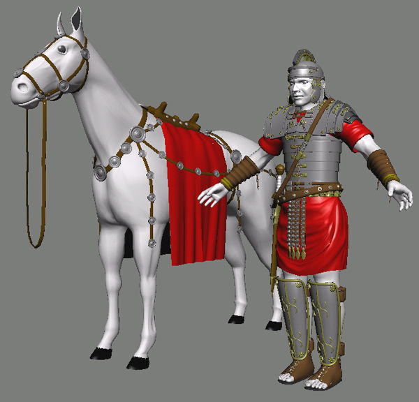 Knight with his horse.