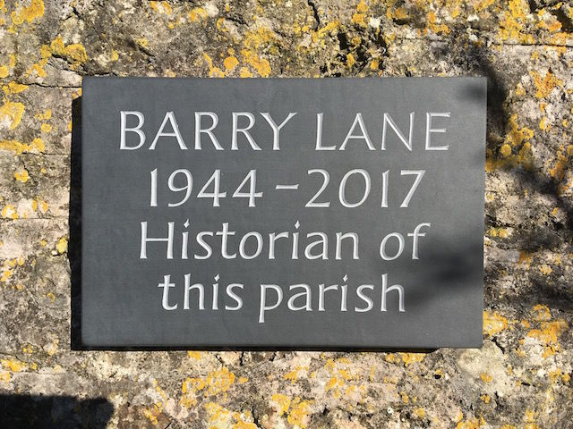 Barry Lane cremation plaque