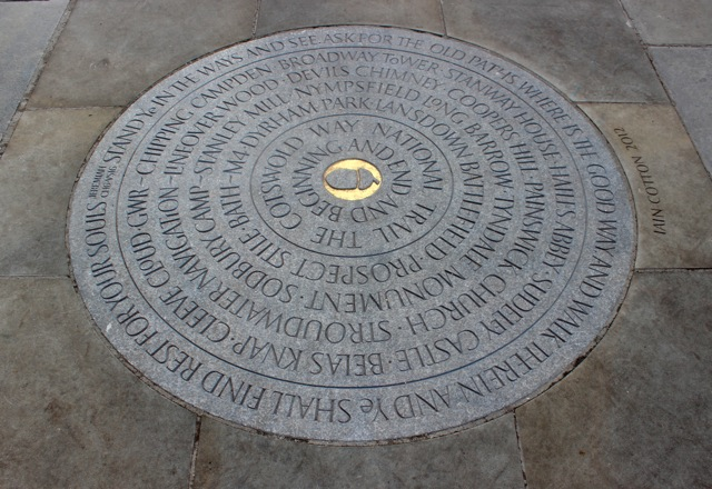 Cotswold Way Marker Stone at Bath Abbey