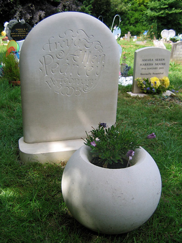 Frey and Ellen's headstone and planter