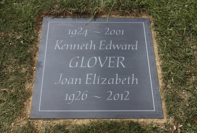 Kenneth and Joan Glover's Cremation Tablet