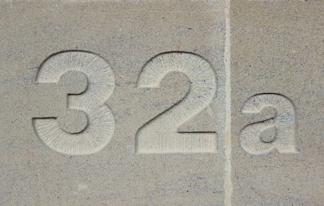 32a In Situ Carved House Number