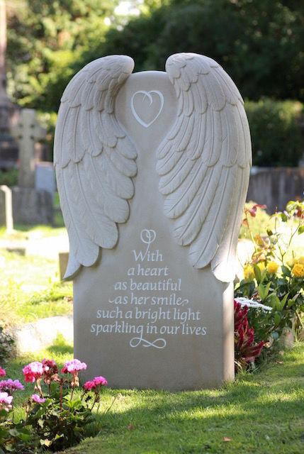 Rhiannon's Angel headstone reverse