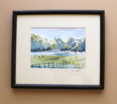 Watercolour simply mounted, stained wood frame