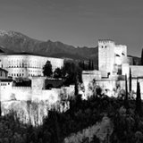 Alhambra at Night - Black and White