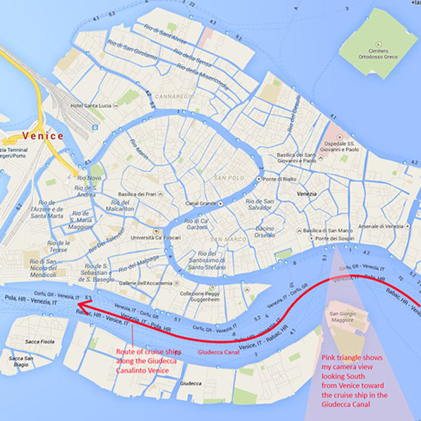 Route of Venice Cruise Ships