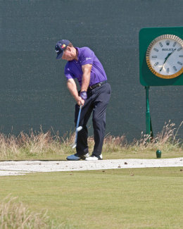Tom Watson teeing off