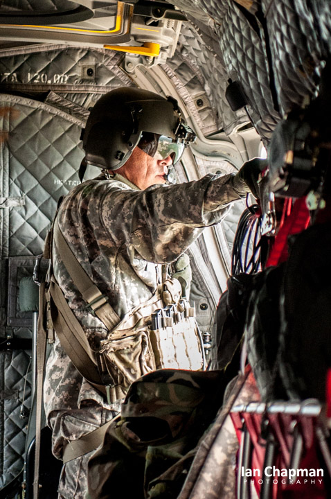 Loadmaster on board a Chinook helicopter, Georgia, USA