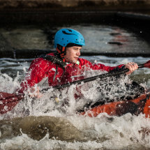 Shooting the rapids at Holme Pierrepoint, Nottingham