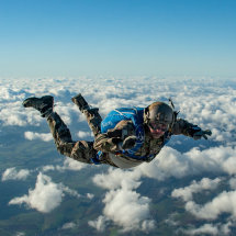A US Army parachutist in freefall over Germany