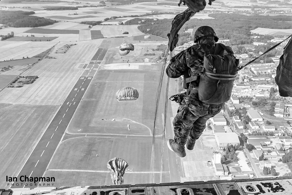 Multi-national paratroopers make a static line jump over germany