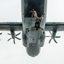 US Air Force jumpers exit a Hercules over Germany