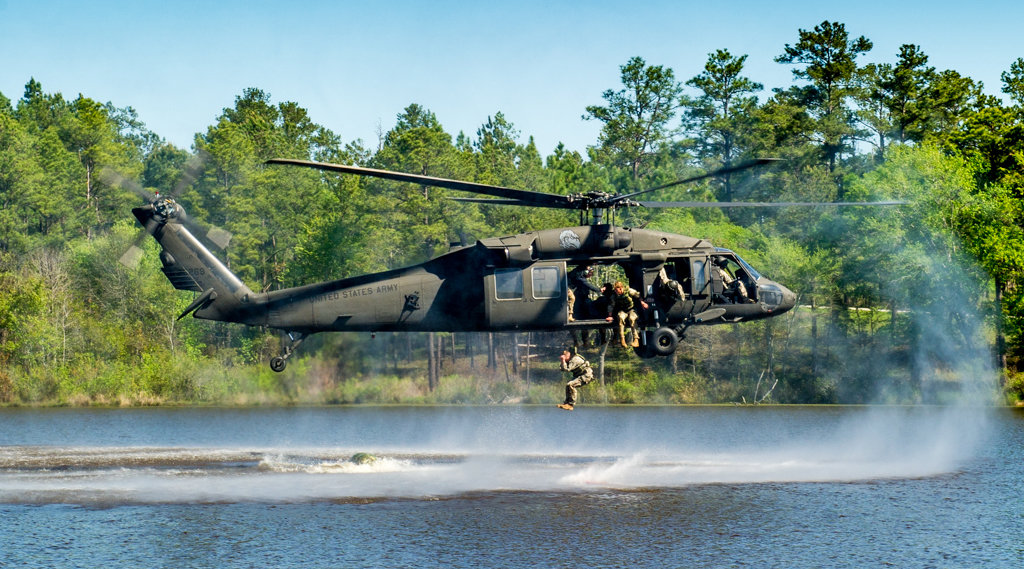 US Army Rangers make a water jump from a Blackhawk helicopter at Fort Benning, Georgia