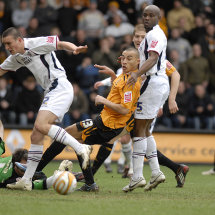 Goal mouth action at the KC Stadium, Hull